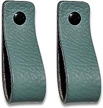 Brute Strength - Leren Handgrepen - Vaalgroen - 2 stuks - 16,5 x 2,5 cm - incl. 3 kleuren schroeven per leren handvat voor...