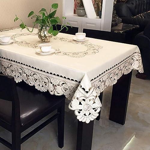 (TLMT) Table Floral Table Anti-Chaud Table De Table Haut De Gamme Tissu Jardin Petite Table voiturerée Frais Ronde Continental Rectangulaire (Taille   145  145cm)