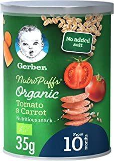 Gerber Organic NutriPuffs Tomato & Carrot Baby Food Can, 35g