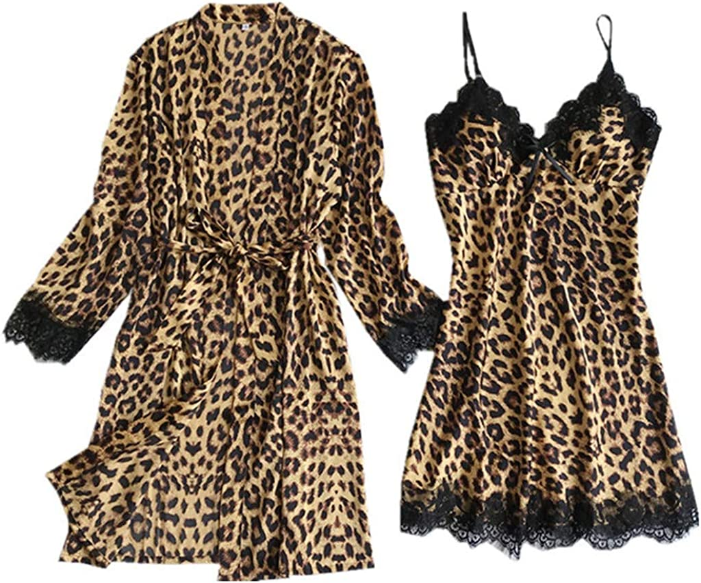 JOFOW Satin Silk Pajamas Cardigan Ladies Nightdress Bathrobe Robes Underwear Sleepwear