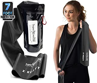 Super Exercise Band 7 Ft. Long Latex Free Flat Resistance Bands and Door Anchor Set. Choose Light, Medium or Heavy Strength. Ideal for Training, Physical Therapy, Yoga, Pilates, Chair Workouts.