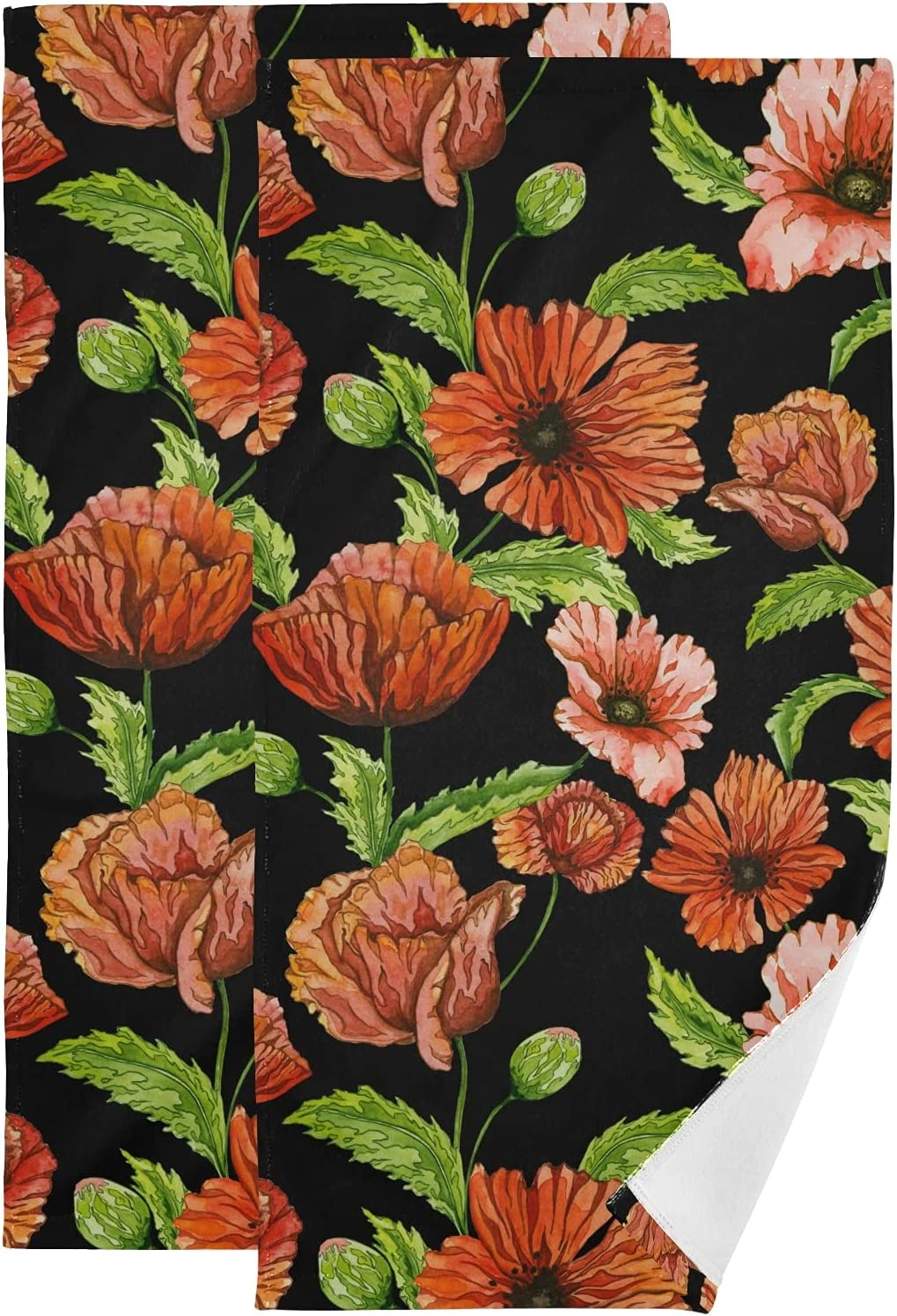 Red Poppy Flowers Vivid Floral Leaves Towel Black Face Limited price sale Set on Charlotte Mall of