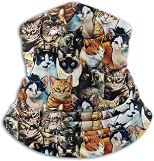 SMDSO6ghj Kaufman Whiskers and Tails Digital Prints Cats Seamless Neck Gaiter Scarf Bandana Face Mask Seamless UV Protection for Motorcycle Cycling Riding Running Headbands Unisex