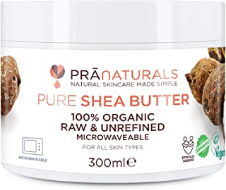 PraNaturals 100% Organic Shea Butter 300ml, Raw Unrefined Extra Virgin A Grade African Pure Ivory All-Natural, Smooth Shea Nut Lip Balm Body Butter Moisturiser Cream Lotion for All Skin Face Hair Type