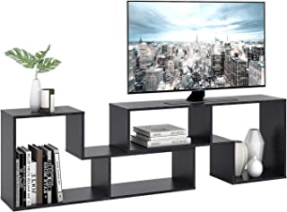 "DEVAISE TV Stand, Modern and Versatile Entertainment Center Media Stand, Used as a Bookcase, TV Console/Storage Shelf for Your Living Room, 0.59"" Thick, Black"