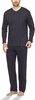 Herren Schlafanzug lang aus 100% Baumwolle mit V-Ausschnitt und Streifen-Design