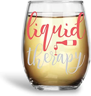 Liquid Therapy Funny 15oz Stemless Crystal Wine Glass - Fun Wine Glasses with Sayings Gifts for Women