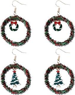 Il Modello di Natale Ciondola L'insieme 2Pairs Dei Monili Dell'orecchio Della Signora Dell'accessorio Dell'orecchio Degli ...