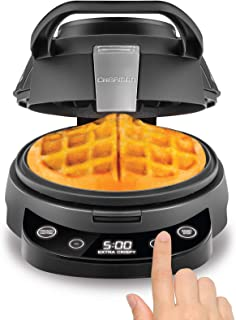 Chefman Perfect Pour Volcano Belgian Waffle Maker, Round Waffle-Iron for Mess-Free Waffles, Programmable Presets & Digital Touchscreen Display, Nonstick Plates, Cleaning Tool & Measuring Cup Included