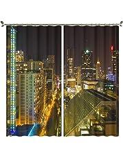 ETH 3D街の夜景のパターン遮光カーテン/ 2パネル/ポリエステル断熱遮音ノイズ低減カーテンドレープカスタムサイズ ハロウィンカーニバル