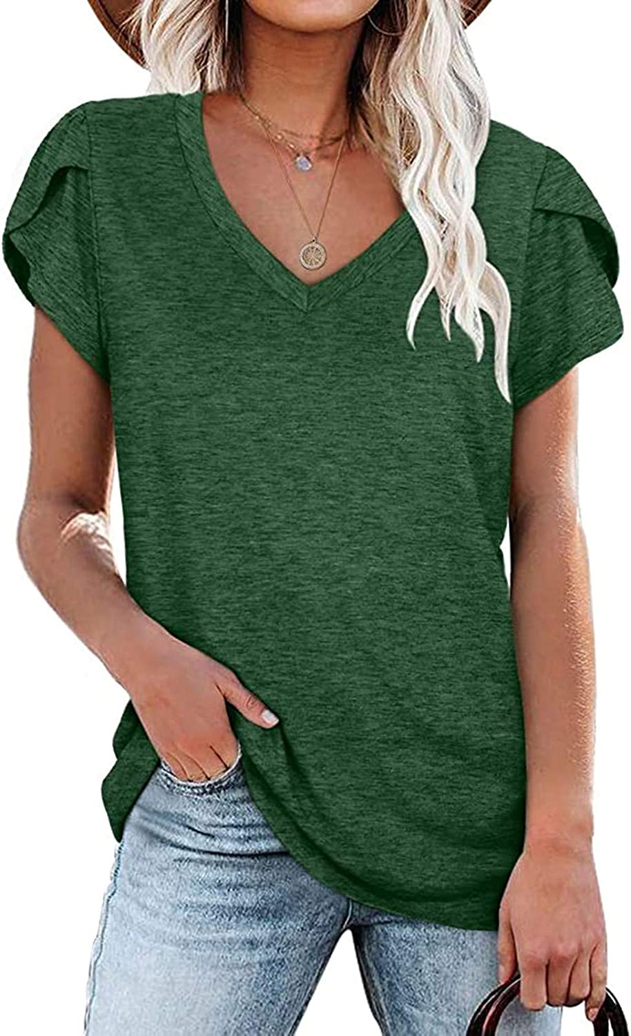 Womens Summer Tops, Women V Neck T Shirts Short Petal Sleeve Casual Loose Fit Basic Tunic Top Fashion Blouse S-2XL