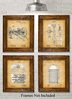 Original Farming Patent Prints - Set of Four Photos (8x10) Unframed - Makes a Great Gift Under $20 for Farmers or Country Decor