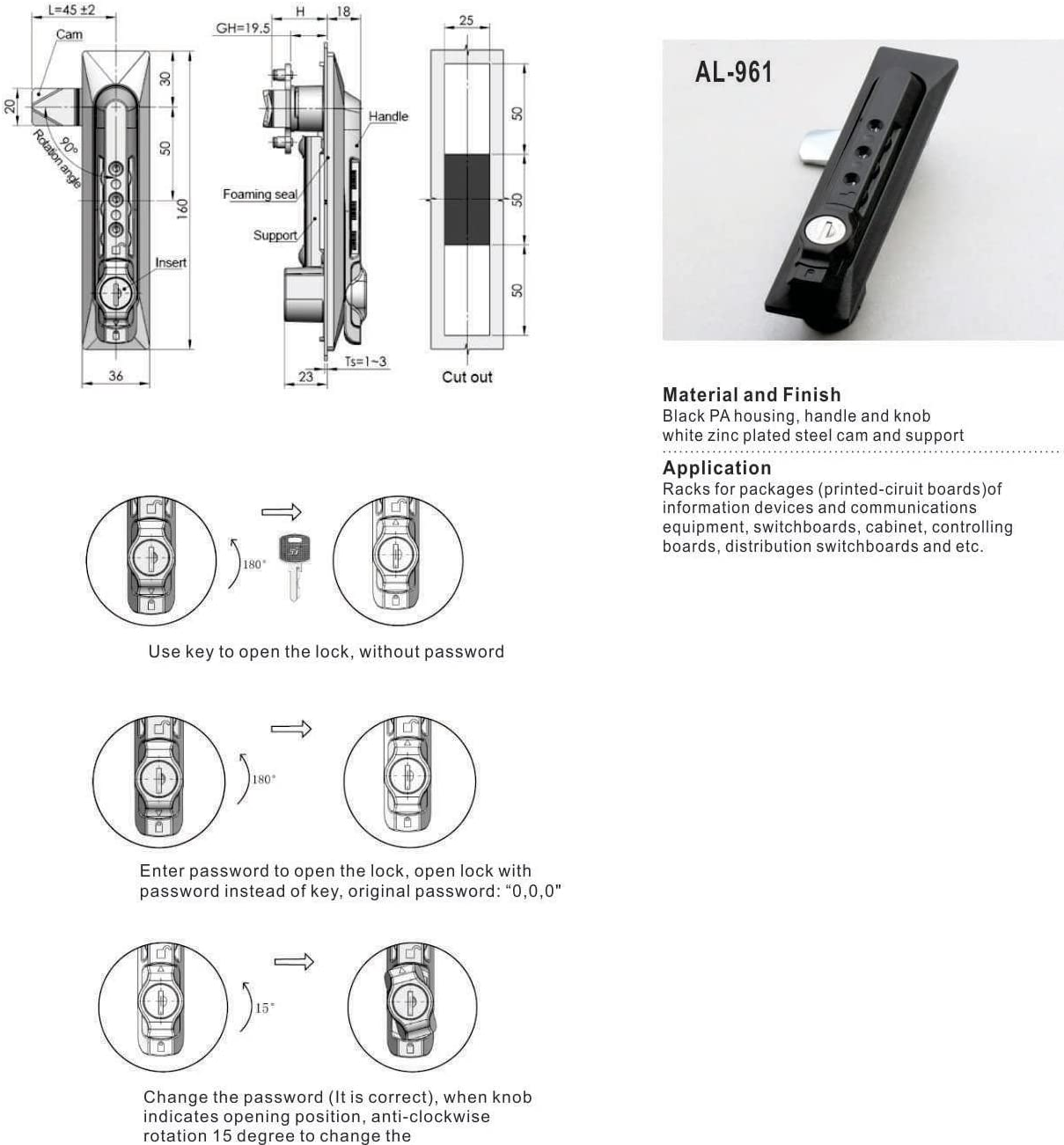 OWACH Combination Lock Handles AL-961 for APC Rack Enclosure Cabinet Replace APC AR8132A/ EMKA 1155-U1/Tripp Lite SRCOMBO Qty 1