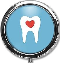 Healthy Teeth Design New Silver Round Pill Box Decorative Metal Medicine Vitamin Organizer Unique Gift