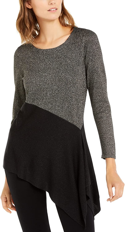Alfani Womens Metallic Asymmetric Pullover Sweater