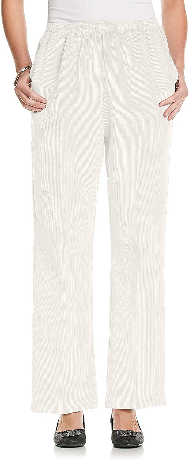 Alfred Dunner Stretch Waistband Solid Pullon Corduroy Pant