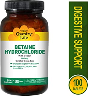 Country Life - Betaine Hydrochloride with Pepsin, 600 mg - 250 Tablets