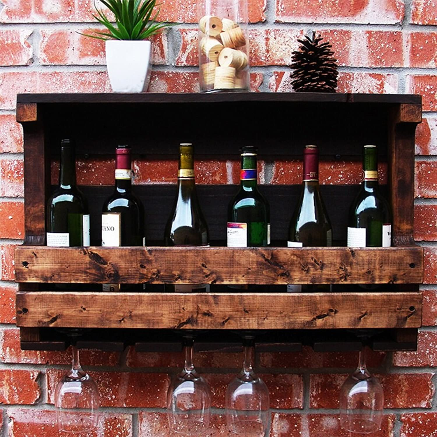 YD Wine Rack Solid Wood Walnut Wall Hanging Wine Glass Cup Suitable for Many Occasions Safe and Comfortable Durable 2 Sizes 2 Styles 50cm  Can Put 4 Bottles; 70cm  Can Put 6 Bottles