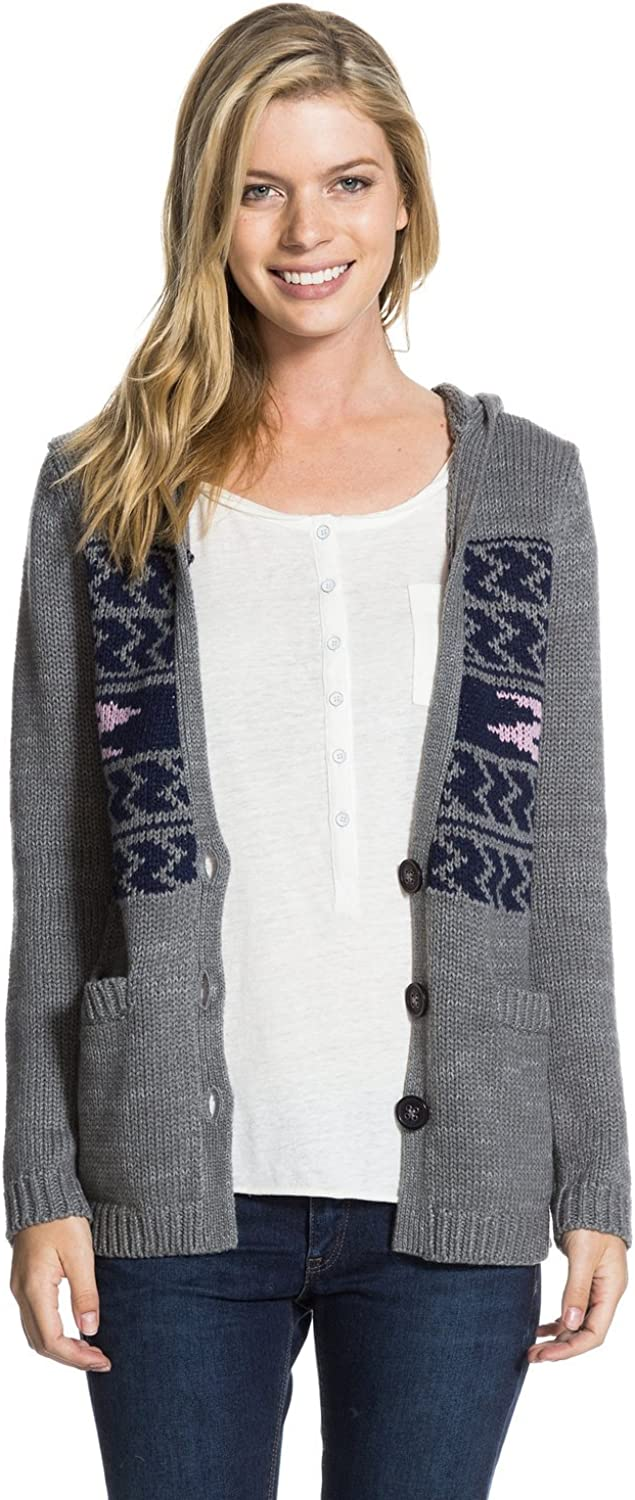 Roxy Juniors Shadow Diamonds Hooded Relaxed Fit Cardigan Sweater