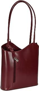 Belli ital. Leder Handtasche Backpack 2in1 Damen Rucksack aus feinstem Leder - Farbauswahl - 28x28x8 cm B x H x T