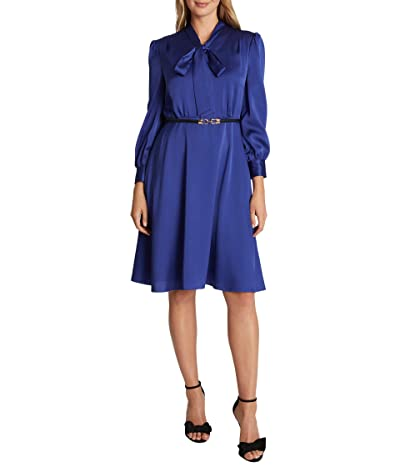 Tahari by ASL Long Sleeve Hammered Satin Tie Neck Belted Dress (Blue Iris) Women