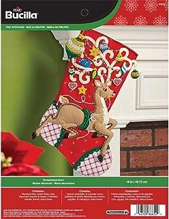 Bucilla 18-Inch Christmas Stocking Felt Applique Kit, 86652 Ornamental Deer