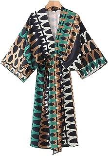 Women Vintage Geometric Pattern Dress Oversized Elastic Waist Pleated Ladies Casual midi Dresses Vestidos