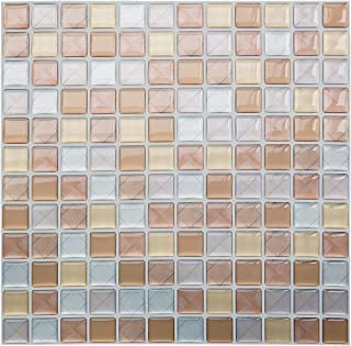 Yoillione 3D Mosaic Tile Sticker Removable Wallpaper Tile Coffee, 3D Self Adhesive Wall Tiles Bathroom Wall Tiles for Kitchen Backsplash Coffee, PVC Square Decorative Vinyl Tile Decals, 4 Sheets