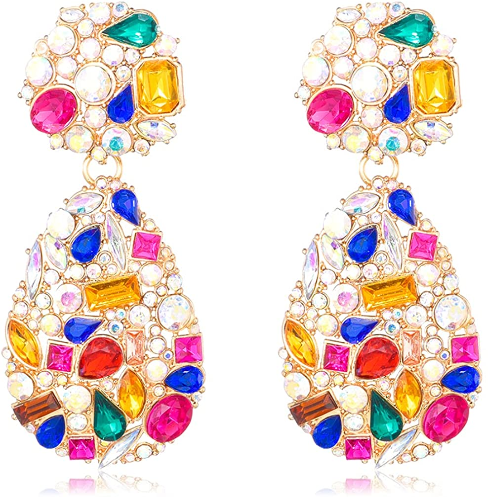 Crystals Teardrop Dangle Statement Arlington Mall Chandeli outlet Rhinestone Earrings