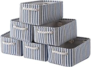 Small Storage Baskets[6-Pack]Decorative Baskets Dog Toy Basket Empty Gift Baskets for Clothes with Rope Handles Fabric Basket Dog Toy Storage for Organizing