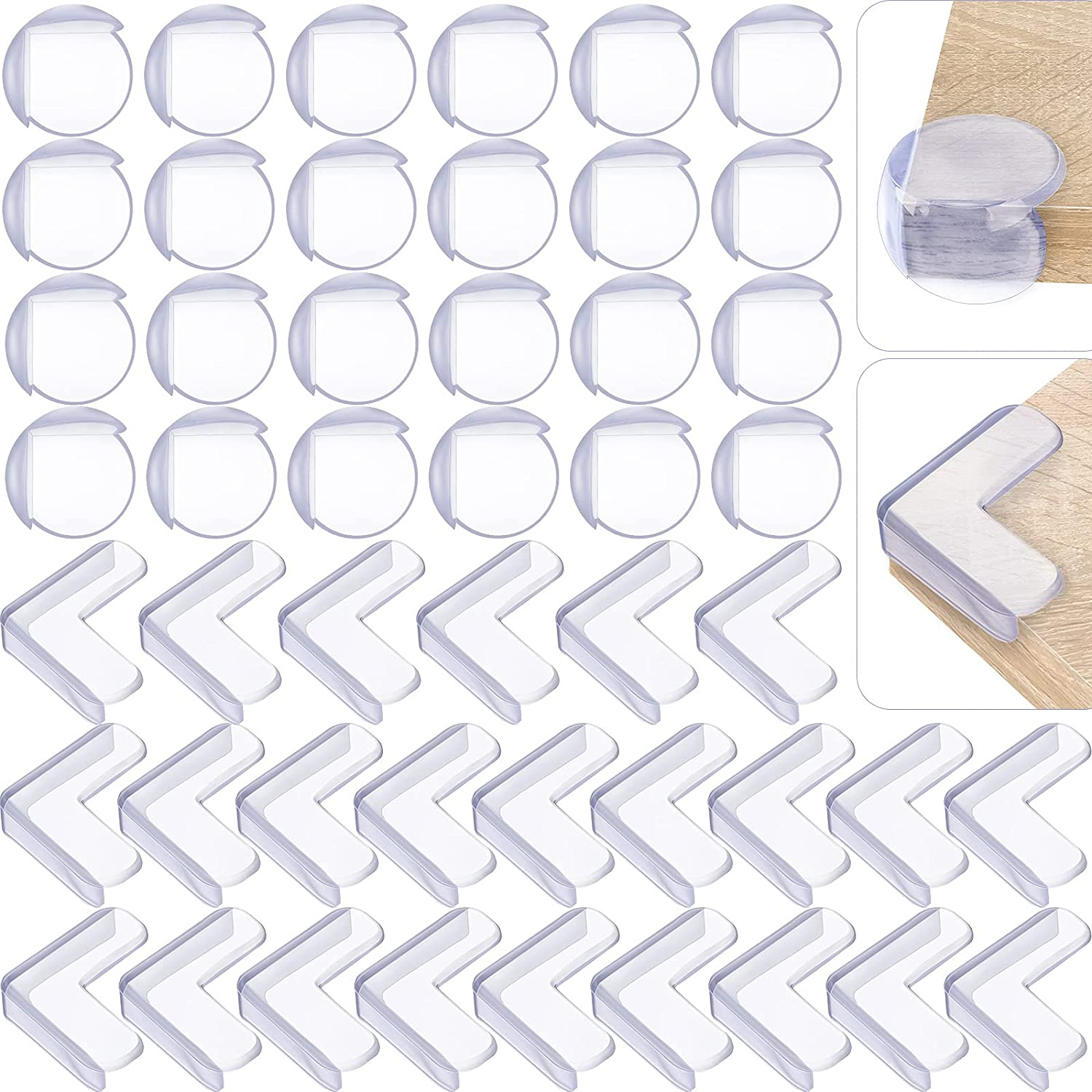 48 Pieces Corner Protectors for Kids Safety Clear Baby Proofing Table Corner Guards Large Soft Child Corner Edge Protector for Furniture Against Pointed Corners, L-Shape and Round
