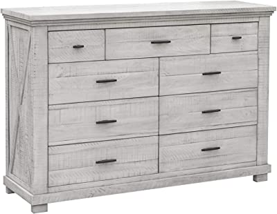 Sunset Trading Crossing Barn Bedroom Dresser, 9 Drawers, Distressed Light Gray