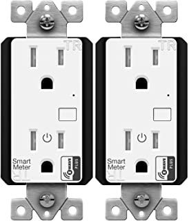 ENERWAVE Z-Wave Plus Wall Outlet with Smart Meter Energy Monitor, for Home Automation, Interchangeable Face Covers, ZW15RM-PLUS, 2-Pack