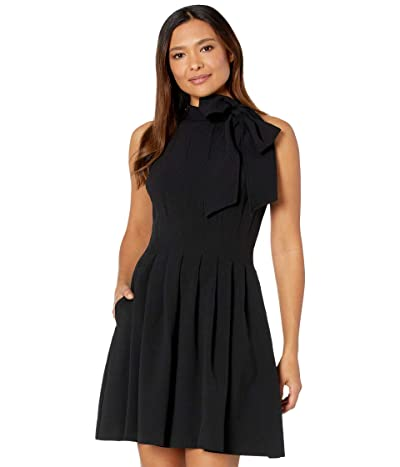 Vince Camuto Kors Crepe Bow Neck Fit-and-Flare (Black) Women