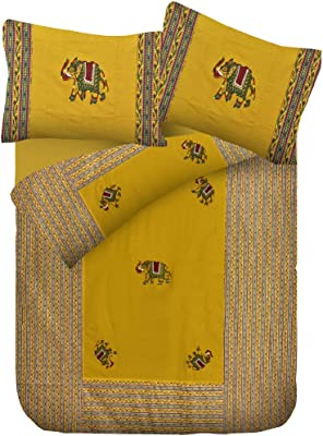 Lali Prints Elephant Patch Work Embroidery King Double Cotton bedsheet with 2 Pillow Covers-Lime Green