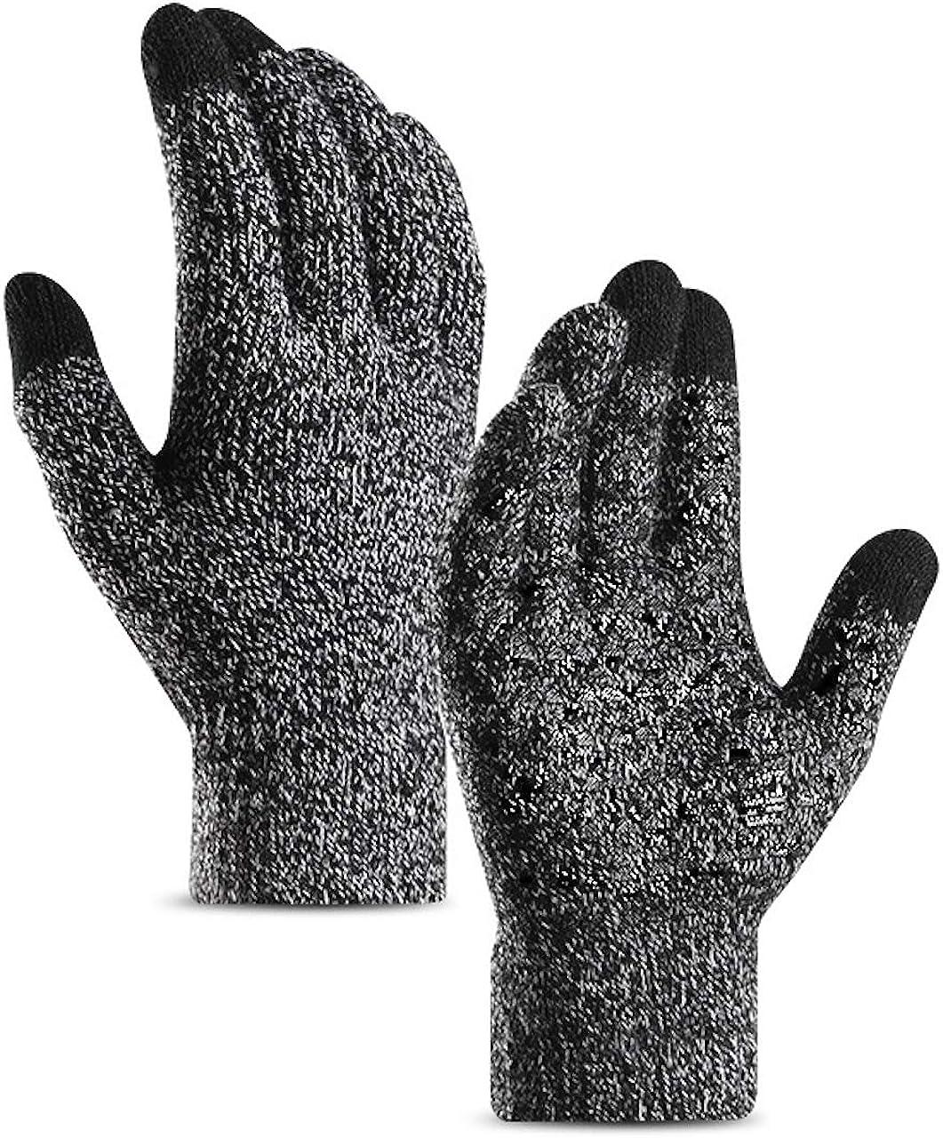 DZRZVD Winter Warm Touchscreen Gloves for Women Men Knit Wool Lined Texting DZ32