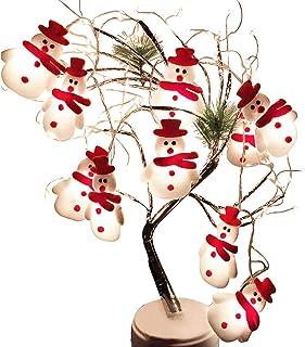 NEWZEROL LED juldekoration ljus träddekorationer snögubbe ljusslinga hängsmycken lämpliga för jul, halloween inomhus/utomh...