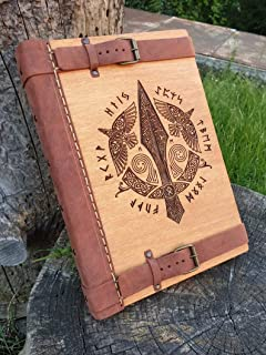 Odino, Thor, Gungir, Album, Sketchbook, Libro, Grimorio, 30x21 cm, Copertina in Legno, Quaderno, Vichingo, Norreno