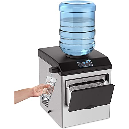 SOUKOO 2 in 1 Water Ice Maker, 48lbs Daily Ice Cube Makers,Stainless Steel Ice Makers Countertop,Tabletop Ice Maker Machine with a Scoop and a 4.5 Pound Storage Basket…