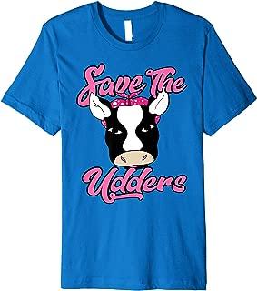 Save The Udders Cow With Polka Dot Headband Cancer Awareness Premium T-Shirt