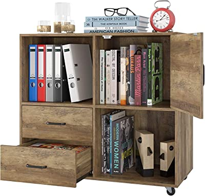 Homecho Office Cabinet Mobile Filing Cabinet Stand Cabinet Printer Cabinet Wooden Rolling Container With 2 Drawers Multi Purpose Cupboard Sideboard On Wheels Industrial Design Vintage Brown 75 X 39 X 80 Cm Amazon De