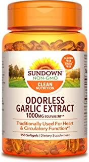 Sundown Garlic 1000 mg, 250 Odorless Softgels (Packaging May Vary) Non-GMOˆ, Free of Gluten, Dairy, Artificial Flavors