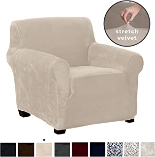 Great Bay Home Velvet Plush Stretch Arm Chair Slipcover. Velvet Chair Furniture Protector, Soft Anti-Slip, High Stretch (Chair, Silver Cloud)
