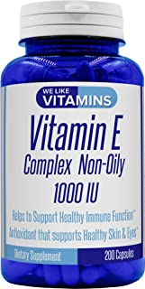 Vitamin E 1000IU 200 Capsules Non-Oily (Non-GMO & Gluten Free) Vitamin E Complex Powder Capsules for Antioxidant Support of Healthy Eyes, Skin, and Hair