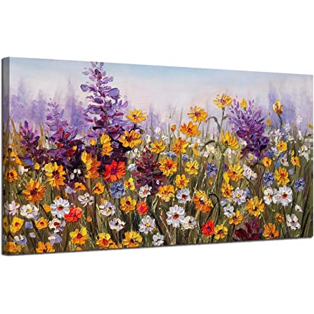 """Ardemy Canvas Wall Art Daisy Colorful Bloosom Flowers Artwork Painting Prints Modern Landscape, Purple Floral Picture Framed for Living Room Bedroom Kitchen Dinning Room Office Home Decor- 40""""x20"""""""