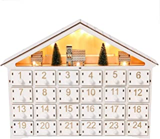 Sunnyglade Christmas Wooden Advent Calendar with LED Lighted 24 Day Countdown Cute Holiday Decoration (White)