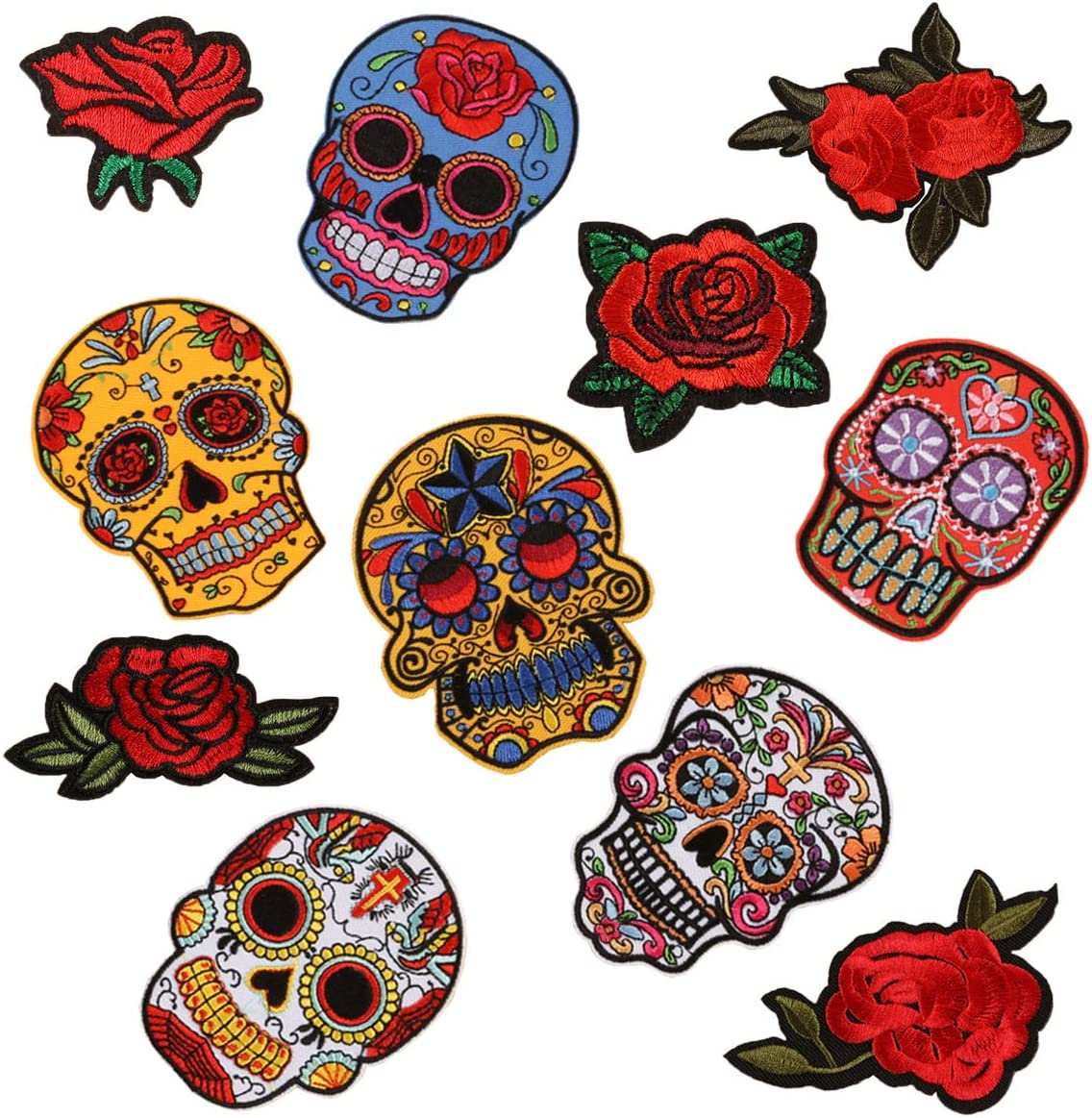 Skull Rose Patches At the price Sugar Memphis Mall Embroidery Appliqu Flowers On Sew