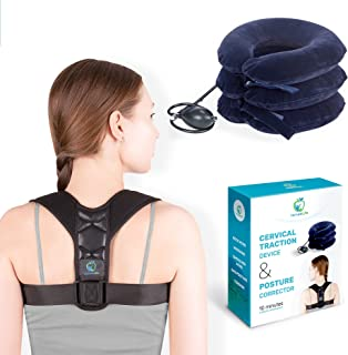 Unique Neck Stretcher Set – Posture Corrector and Neck Cervical Traction Device - Inflatable Support Pillow for Neck Pain ...