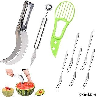 Juego Premium para tallar fruta: Rebanador de patilla de acero inoxidable, sacabocado de melón y cuchillo de fruta 2-en-1 y un rebanador de aguacate – Bono: 5 tenedores de fruta de acero inoxidable