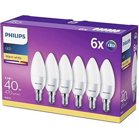 Philips LED E14 Candle Light Bulbs, 5.5 W (40 W) - Warm White, Pack of 6